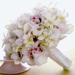Bridal Bouquet; Cymbidium and Dendrobium Orchids, Calla Lillies and satin wrapped stems