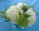 Turquoise Wedding Centerpieces; Peonies and Hydrangea