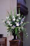 Deep Blue Wedding Ceremony Piece; Delphinium, Hydrangea & Roses in Urn