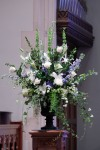 Deep Blue Wedding Ceremony Piece; Delphinium, Hydrangea & Roses in Urn