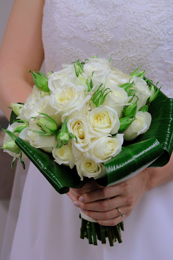 Deep Blue Wedding Bridal Bouquet; Garden Roses & Aspidistra