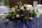 Deep Blue Wedding Bridal Party Table Centerpiece; Hydrangea &  Roses