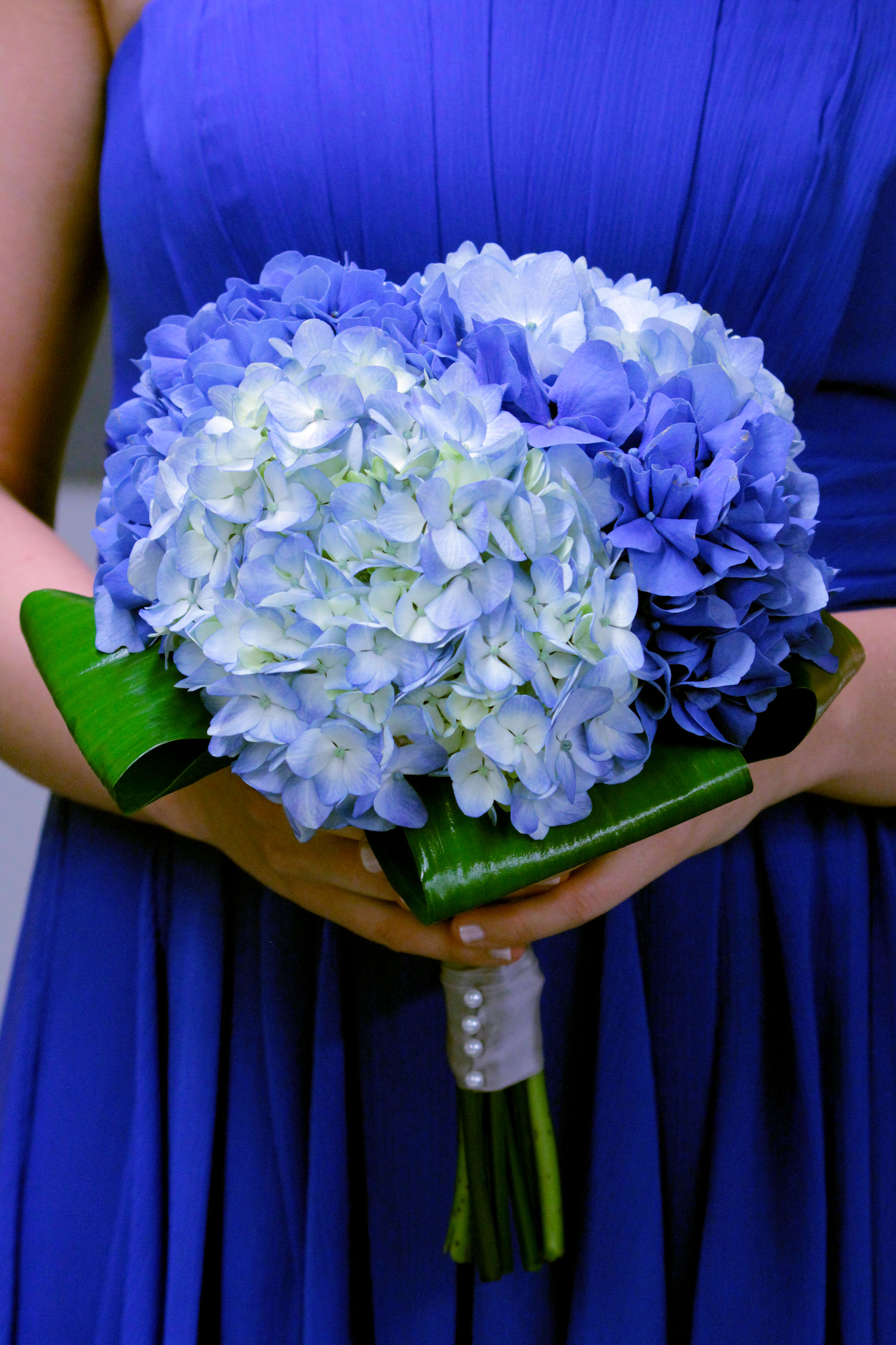 Deep Blue Wedding Bridesmaid Bouquet Dark And Light Blue Hydrangea