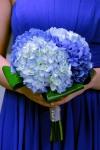 Deep Blue Wedding Bridesmaid Bouquet; Dark and Light Blue Hydrangea