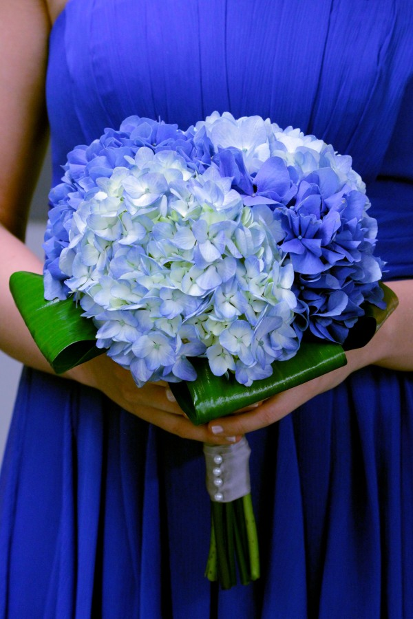 Deep Blue Wedding Bridesmaid Bouquet; Dark and Light Blue Hydrangea