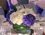 Deep Blue Wedding Centerpiece; Blue, White, & Light Blue Hydrangea and  Casablanca Lillies