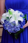 Deep Blue Wedding Maid of Honor Bouquet; Dark & Light Blue Hydrangea with Casablanca Lillies