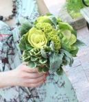 Garden Wedding Maid of Honor Bouquet; Kale, Cockscomb, Dusty Miller &  Verigated Pit