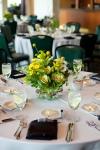 Garden Wedding Centerpieces; Jars filled with Kale, Alstromeria, Billy Balls, Daisies, Solidago & Verigated Pit