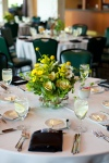 Garden Wedding Centerpieces; Jars filled with Kale, Alstromeria, Billy Balls, Daisies, Solidago & Verigated Pit